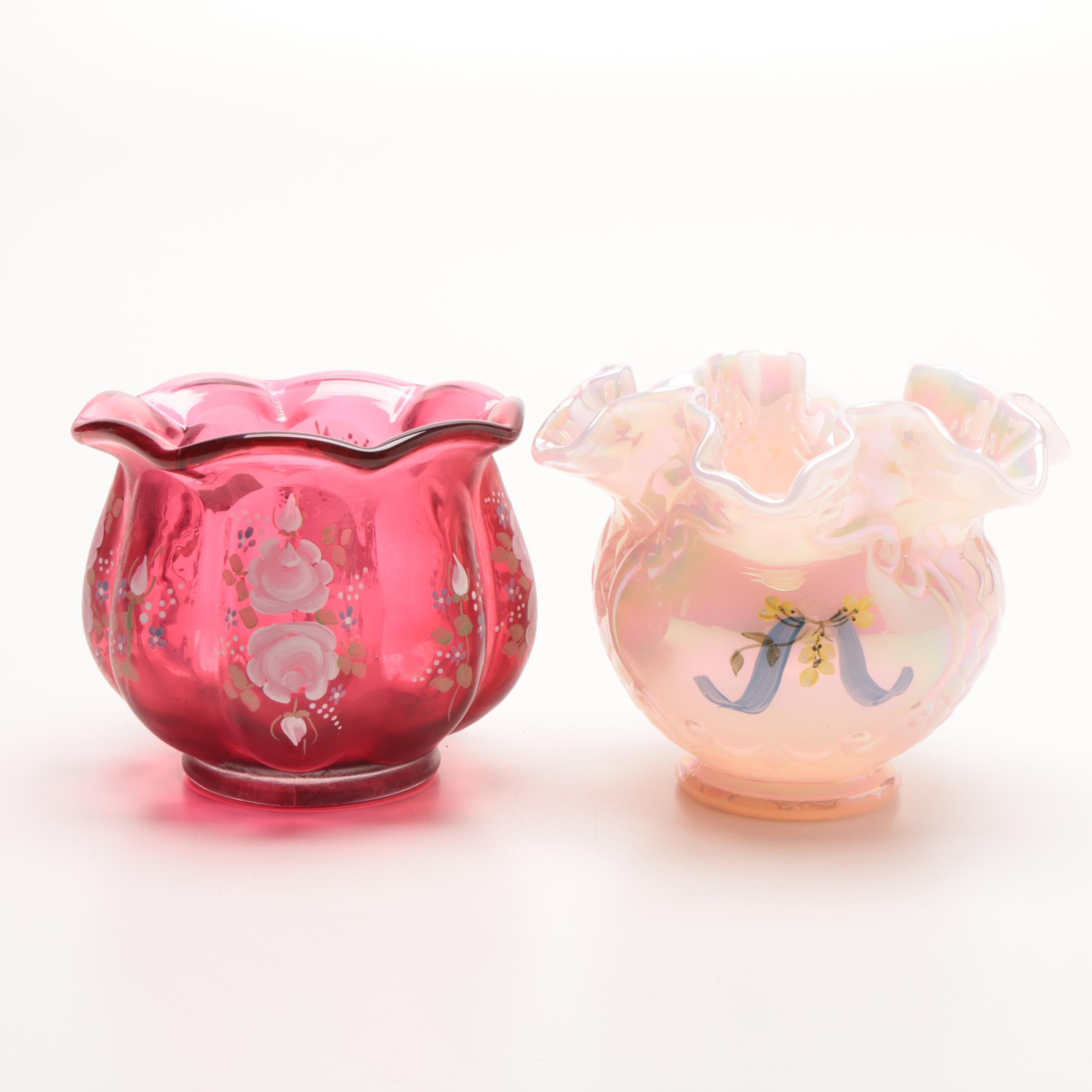 Singed Fenton Art Glass Ruffled Rim Vases