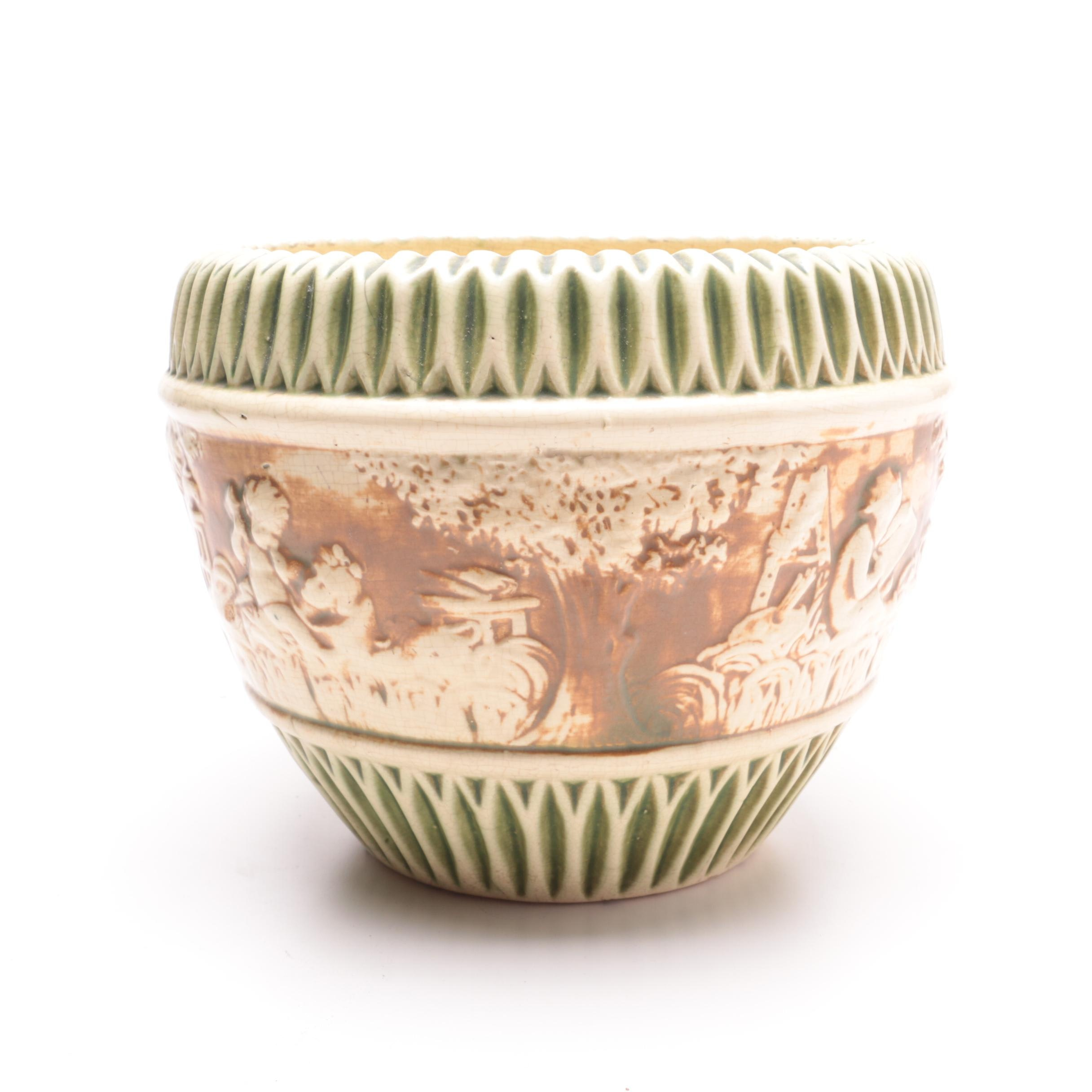 """Vintage Roseville Pottery """"Donatello"""" Jardiniere"""