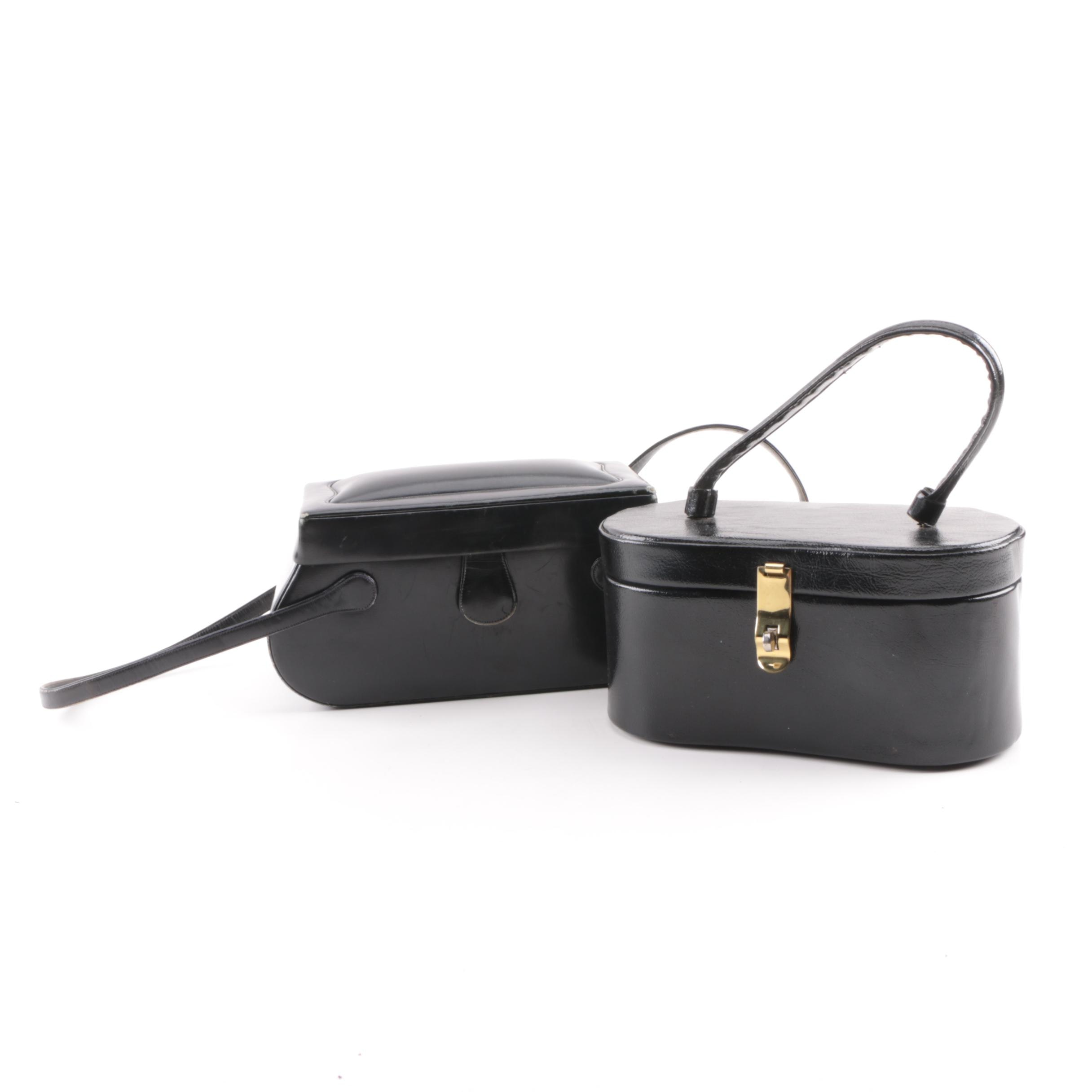 Vintage Black Leather and Faux Leather Box Purses Including Coblentz