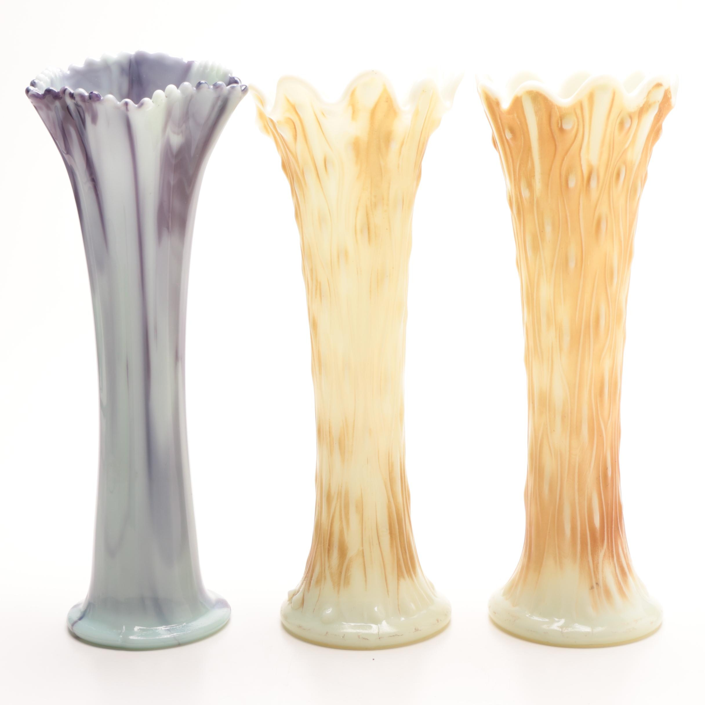 Opalescent Art Glass Swung Vases