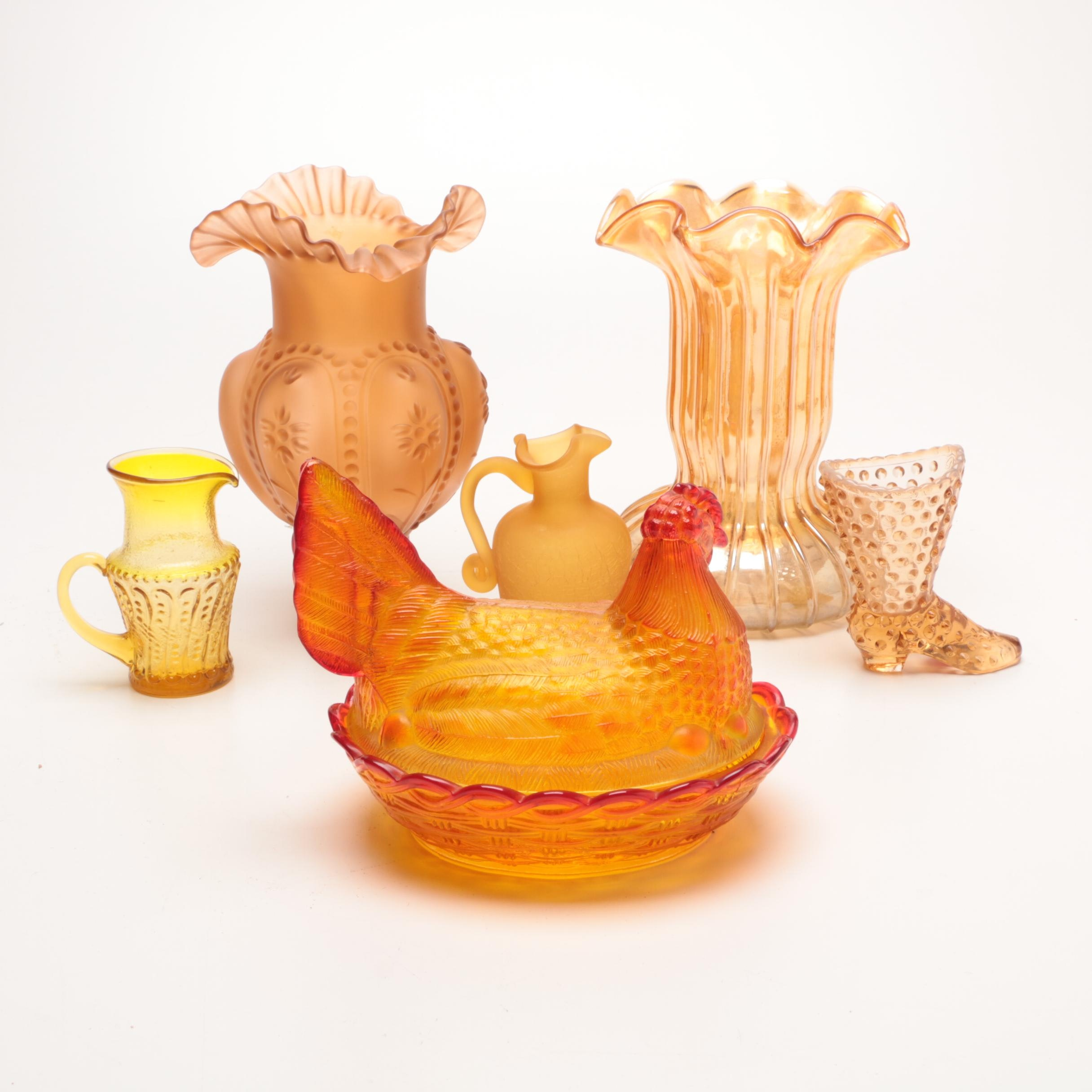Carnival Glass and Art Glass Vases, Pitchers and Amberina Hen on Nest