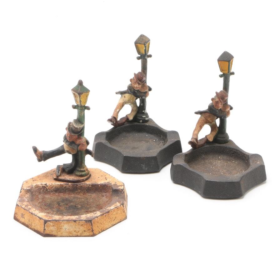 Vintage Cast Iron New Orleans Bourbon Street Lamp Post Figural Ash Receivers