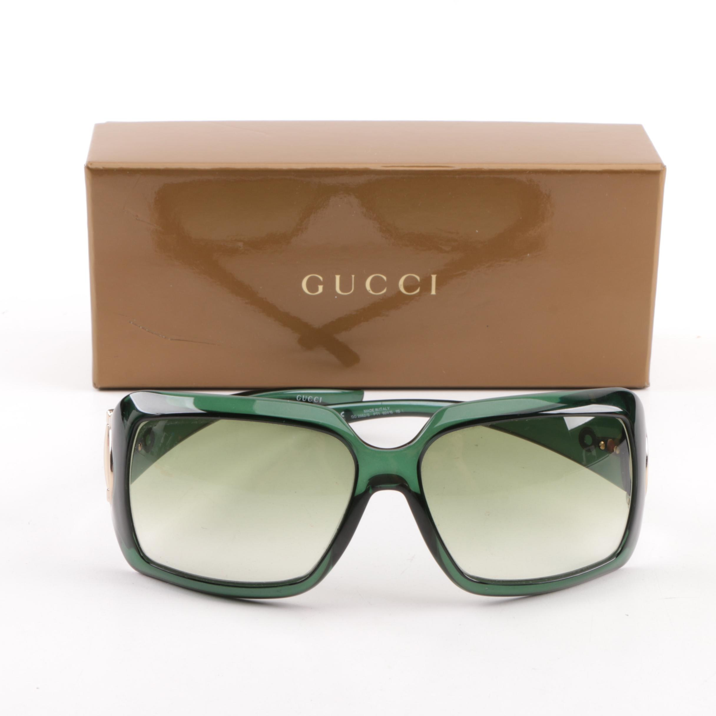 Women's Gucci GG 2562/S Bottle Green Rectangular Sunglasses