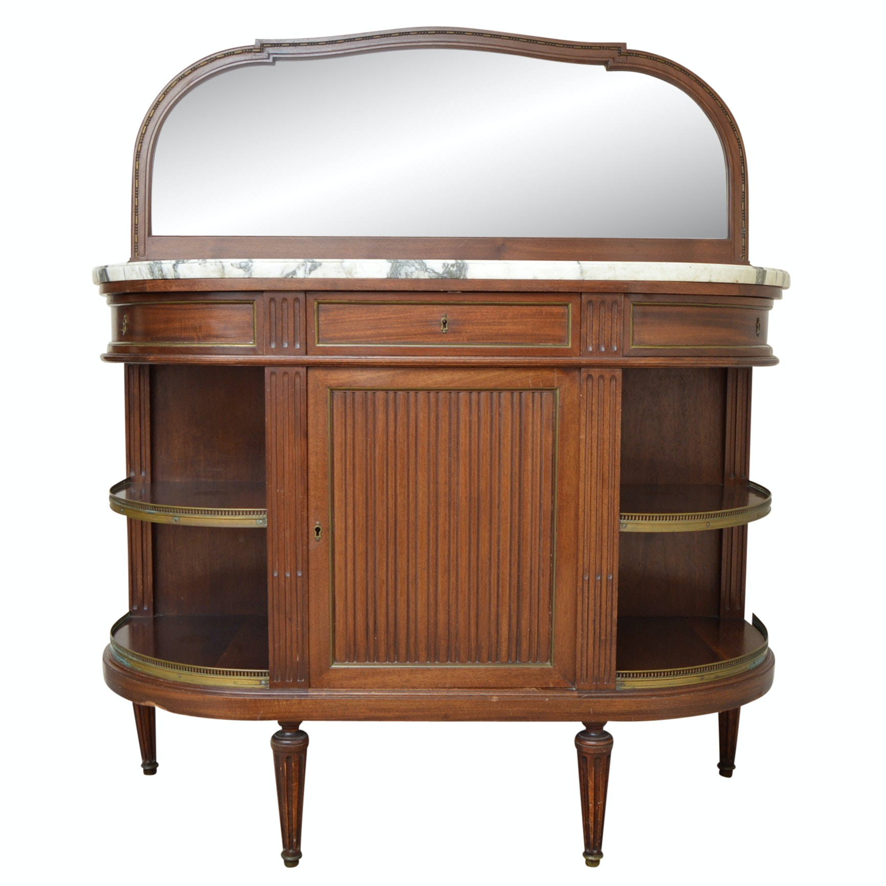 Vintage Neoclassic Style Mahogany Marble-Topped Buffet