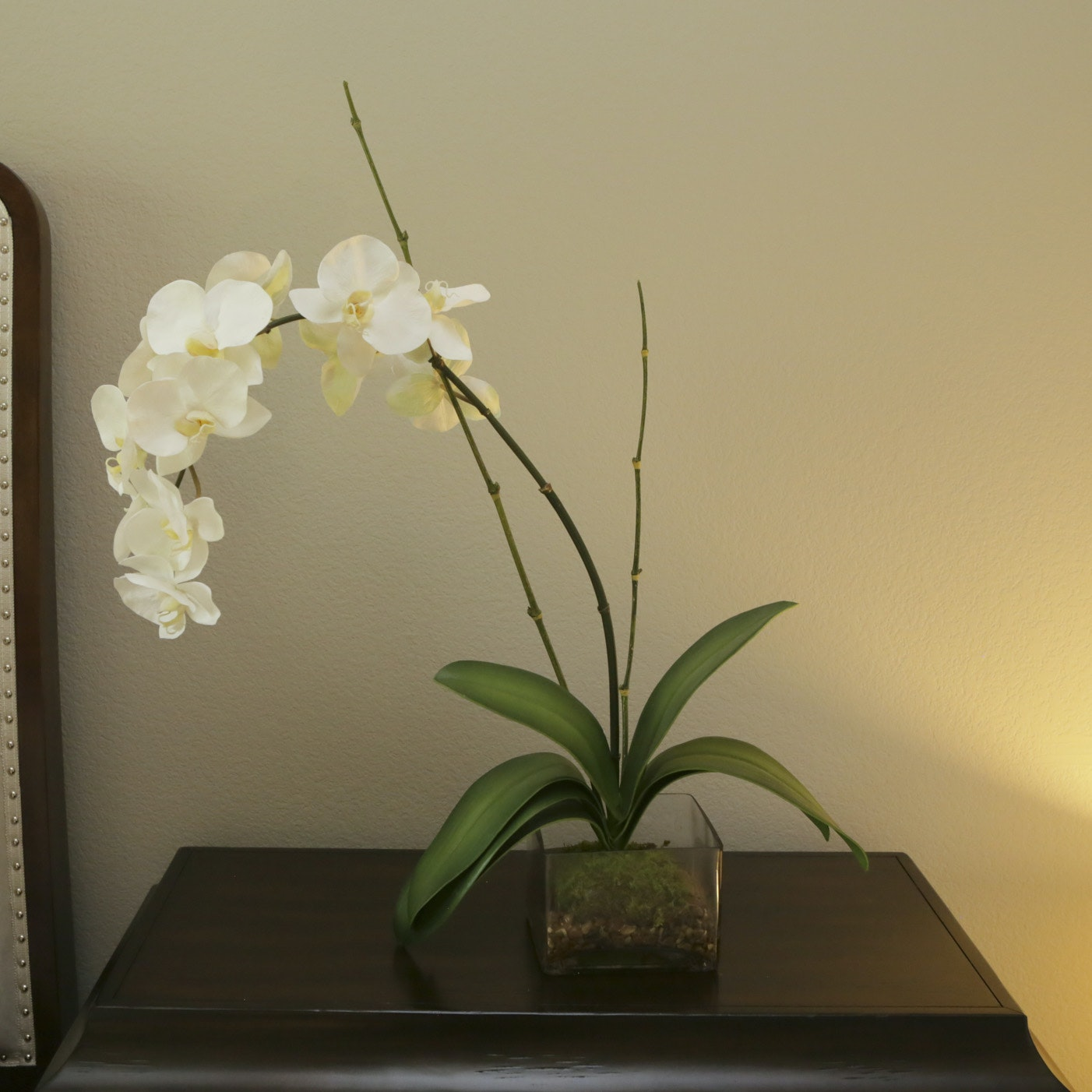 Artificial White Orchid in Glass Planter