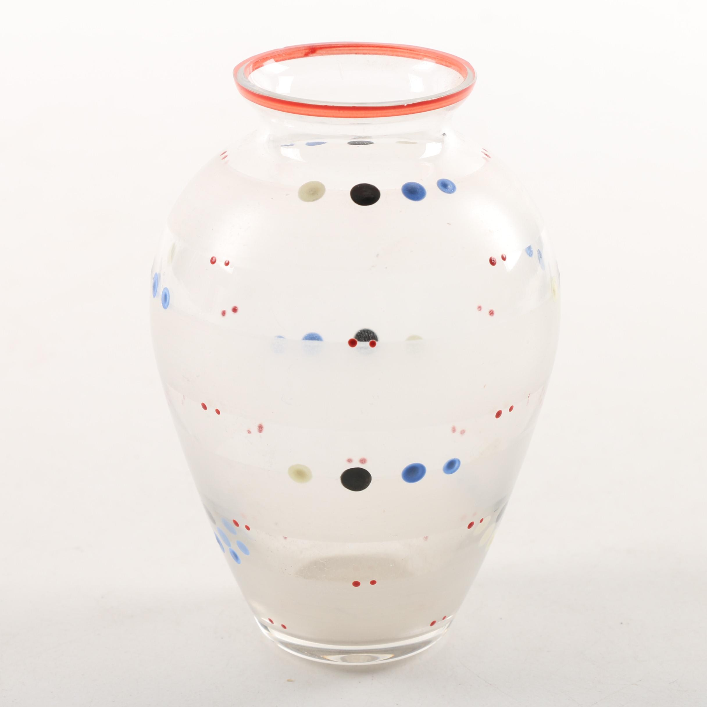 Hand-Painted Art Glass Vase with Frosted Stripes