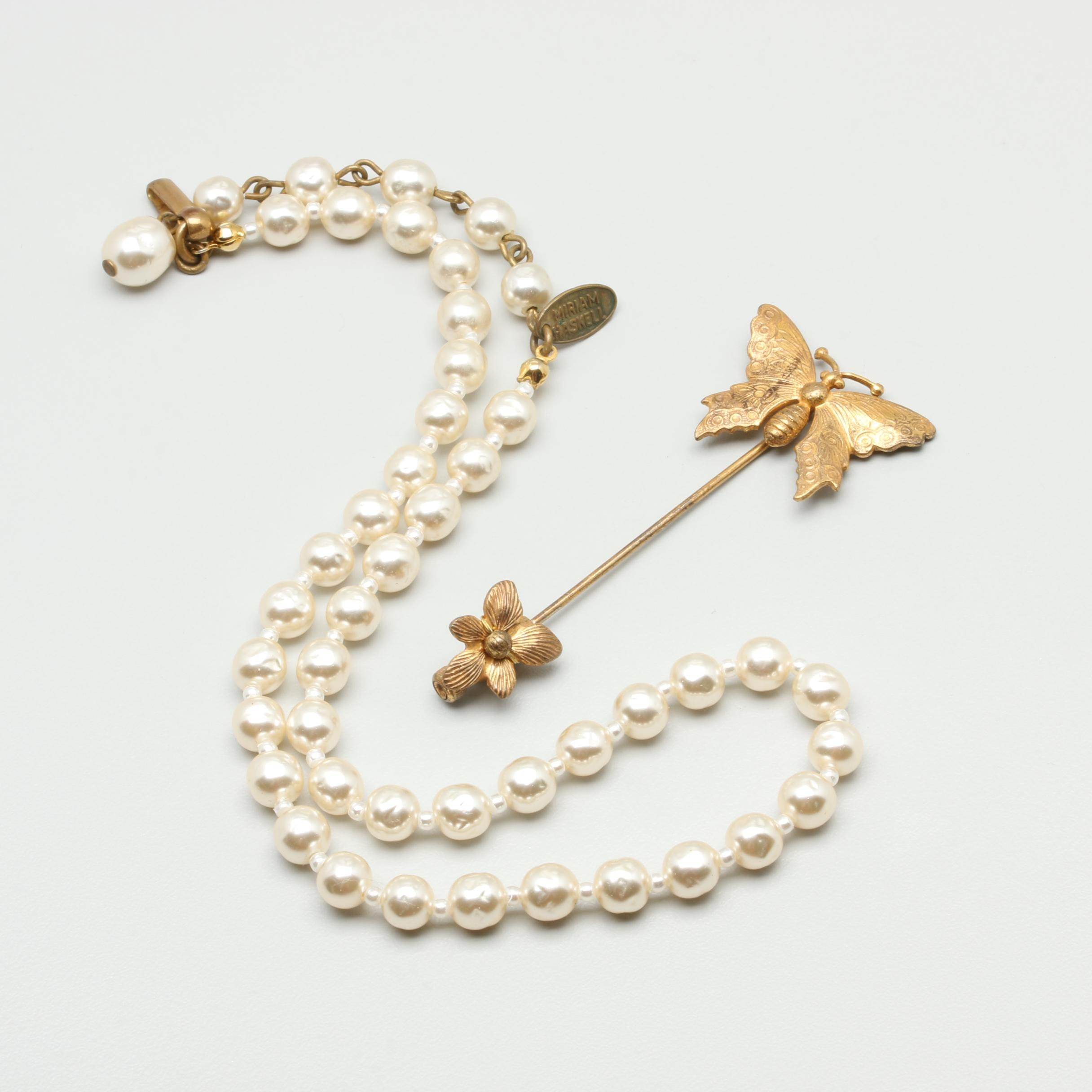 Miriam Haskell Gold Tone Imitation Pearl Necklace and Butterfly Stick Pin