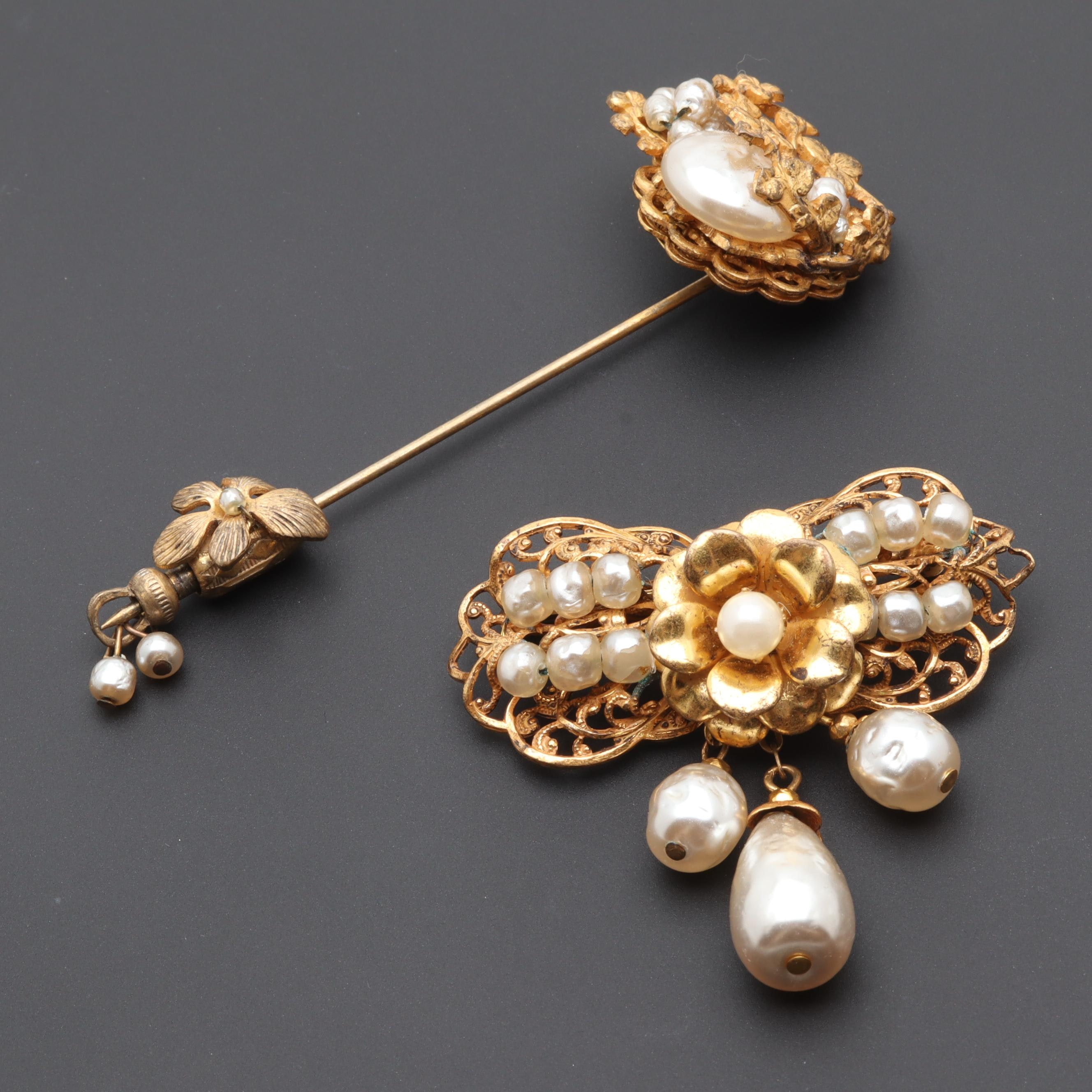 Circa 1980s Miriam Haskell Gold Tone and Imitation Pearl Brooch and Pin