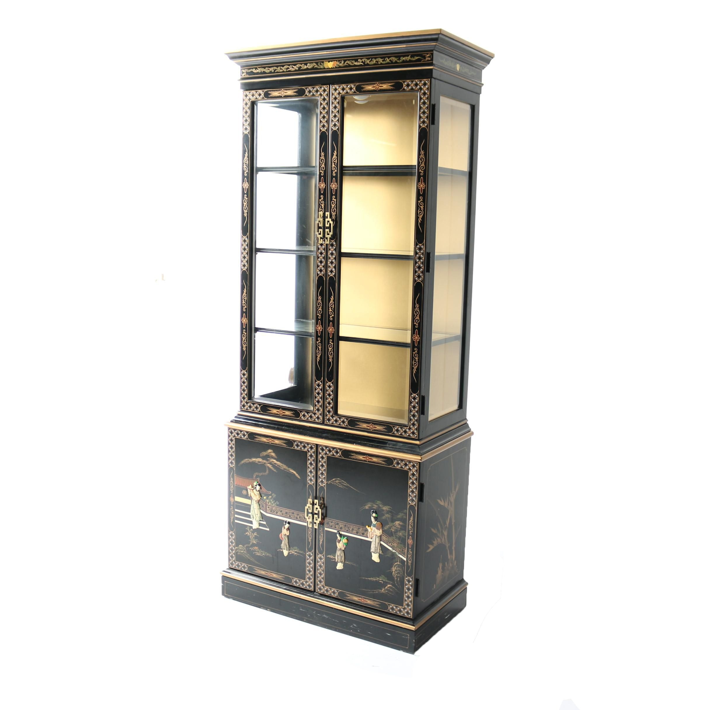 Vintage Chinese Black Lacquered Illuminated China Cabinet