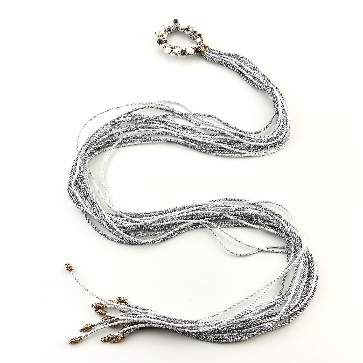 Lo Spillo Gray Corded Cultured Pearl and Quartz Crystal Tie Necklace