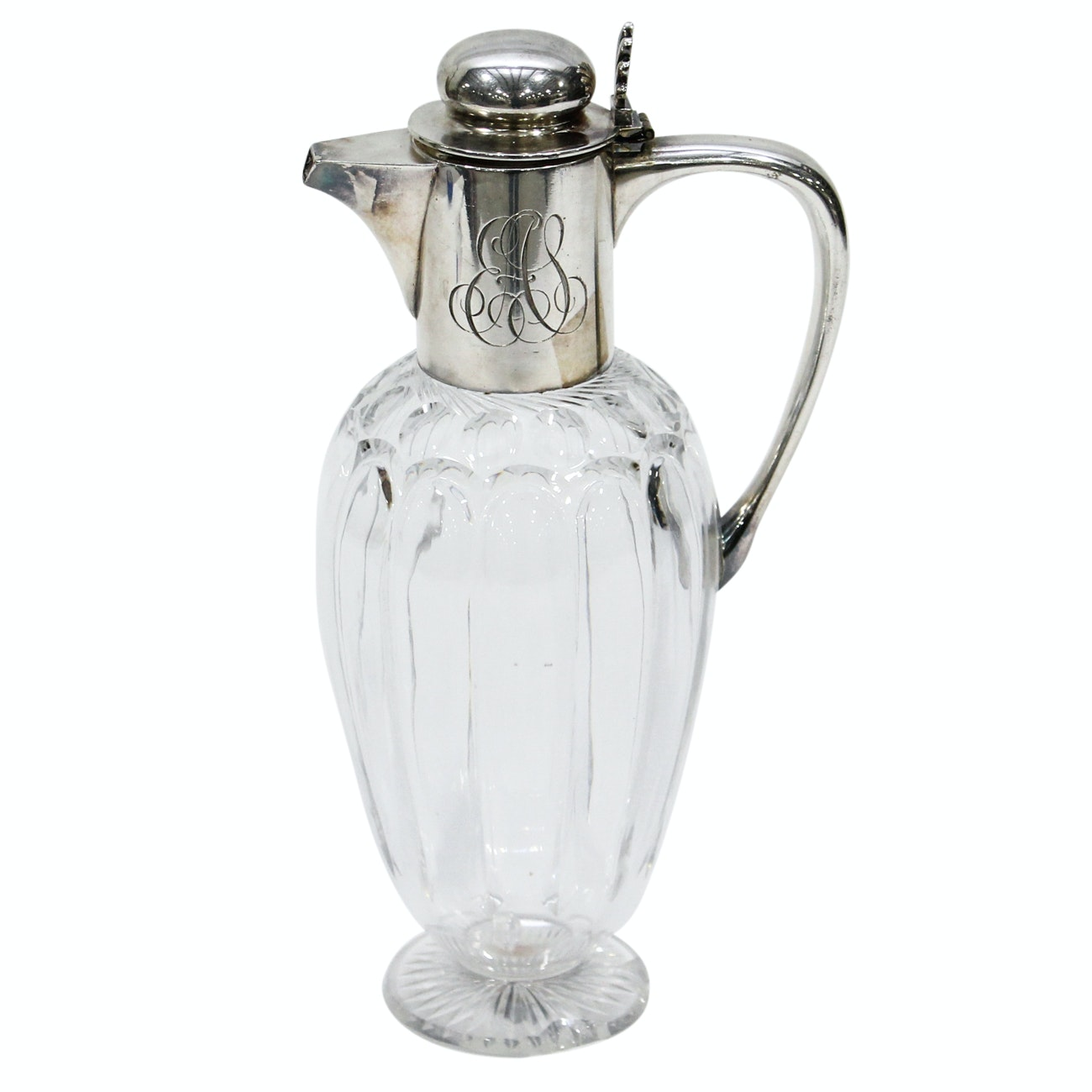 Victorian Silver Plate and Glass Claret Jug, by John Grinsell & Sons