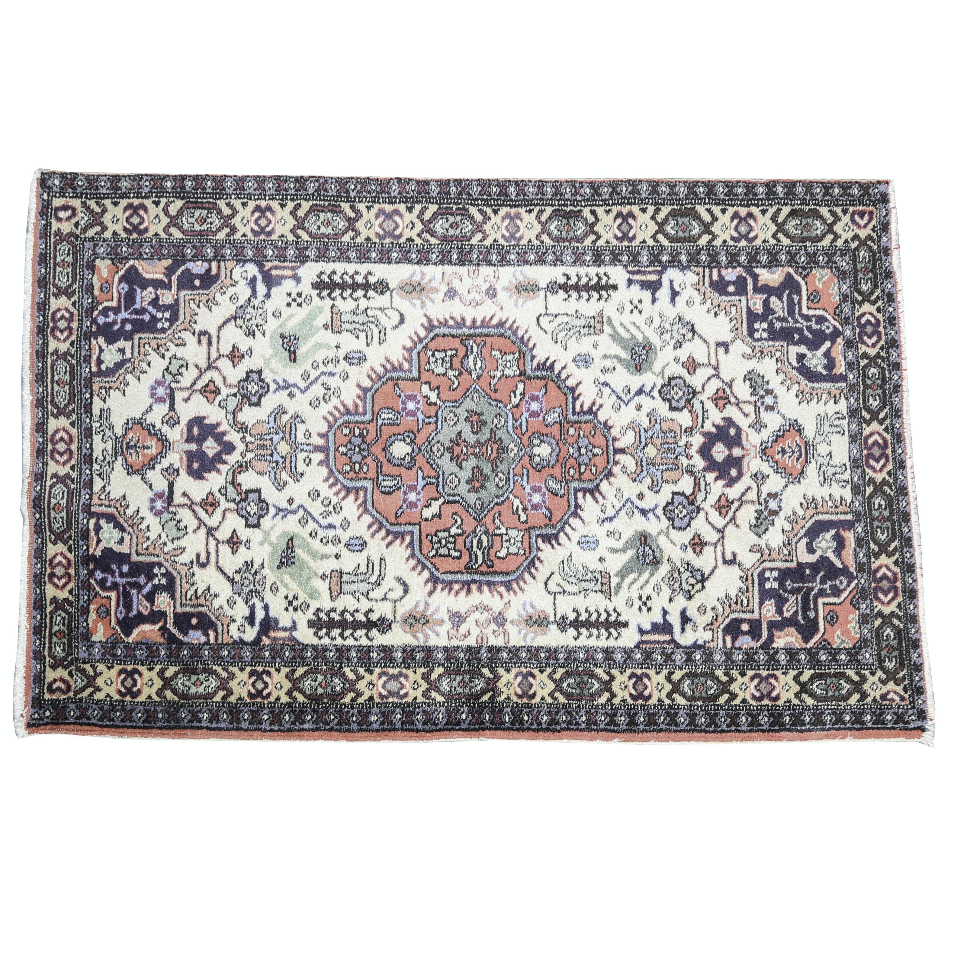 Vintage Hand-Knotted Turkish Wool Area Rug