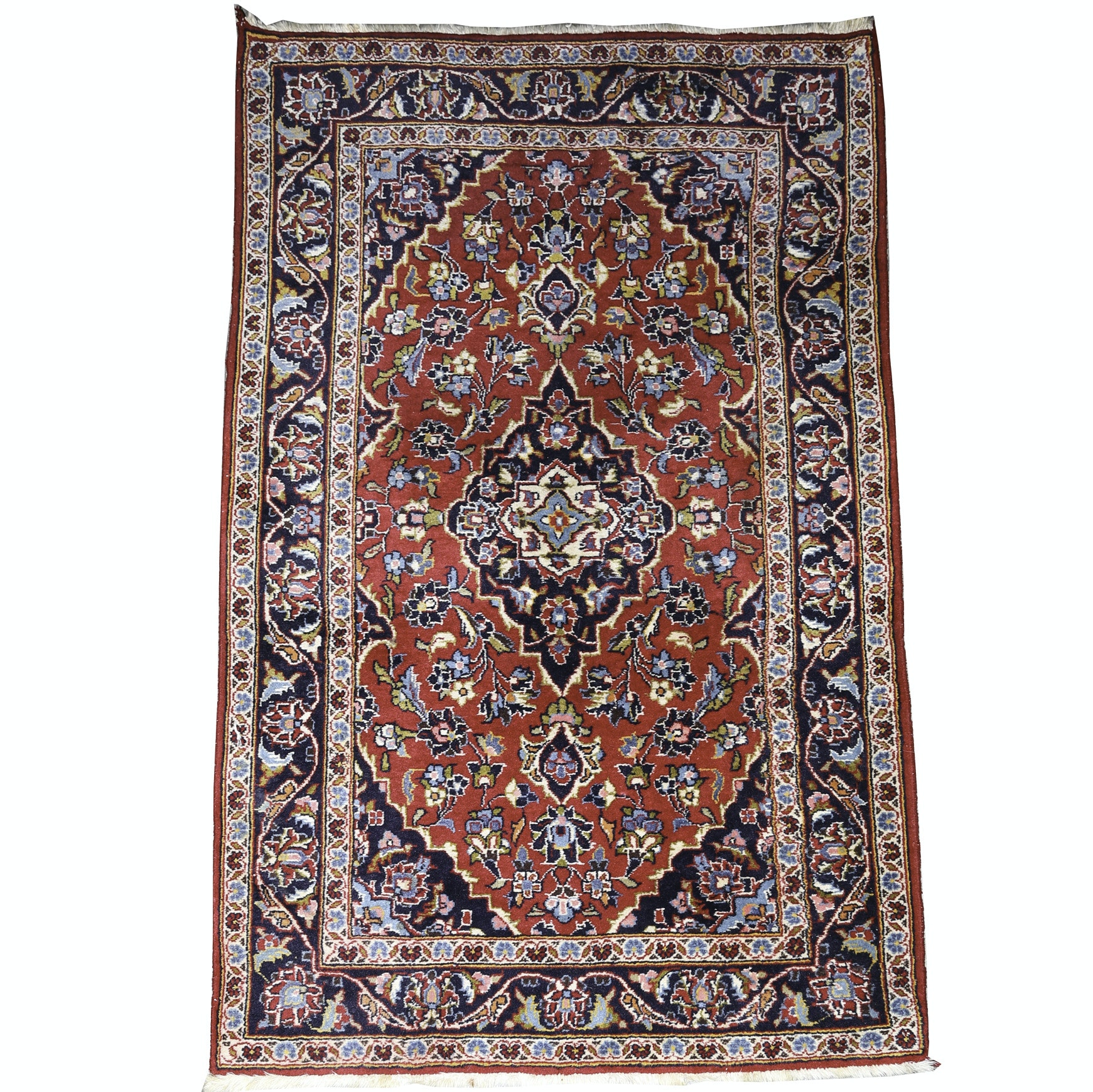 Vintage Hand-Knotted Persian Ardekan Kashan Accent Rug
