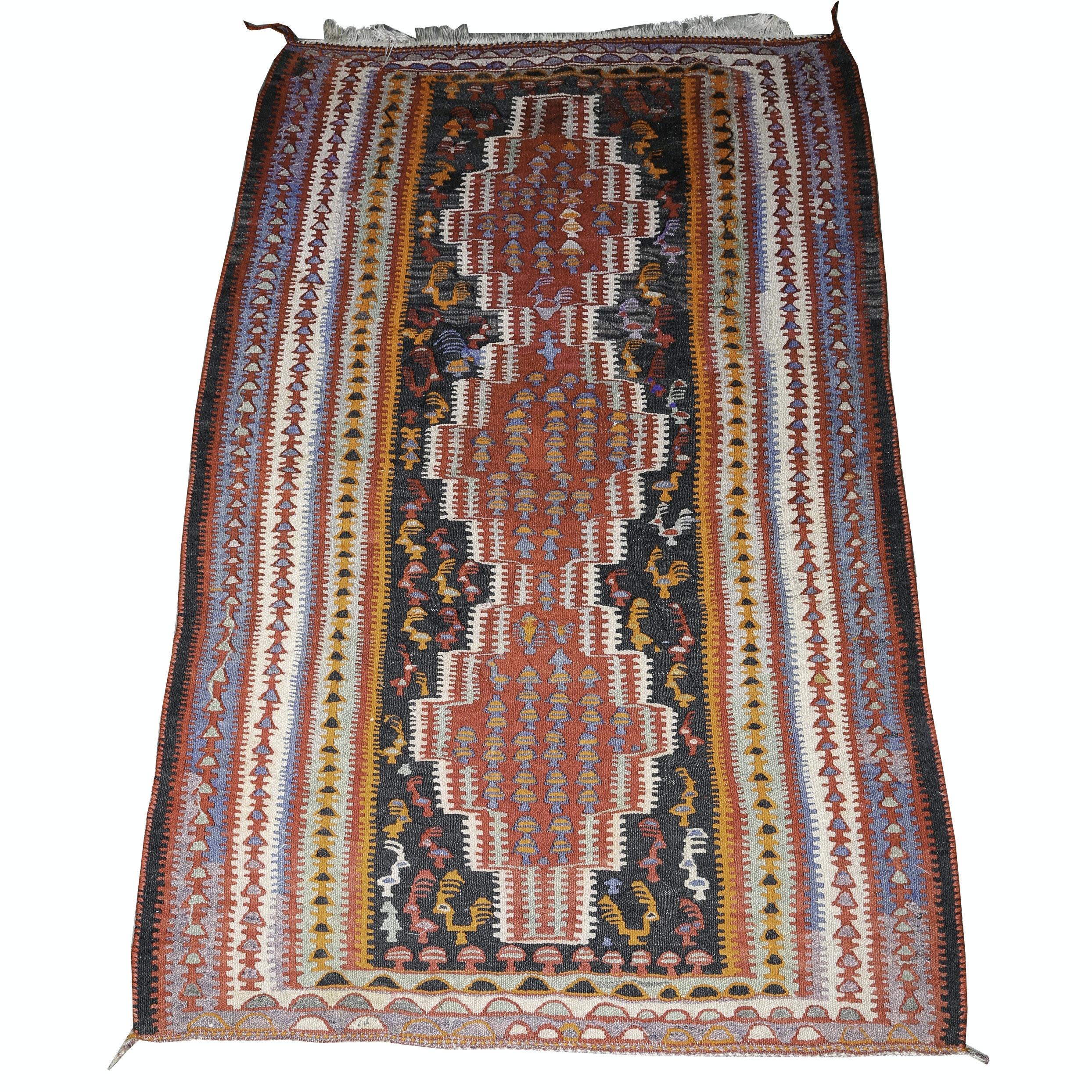 Vintage Handwoven Anatolian Wool Kilim