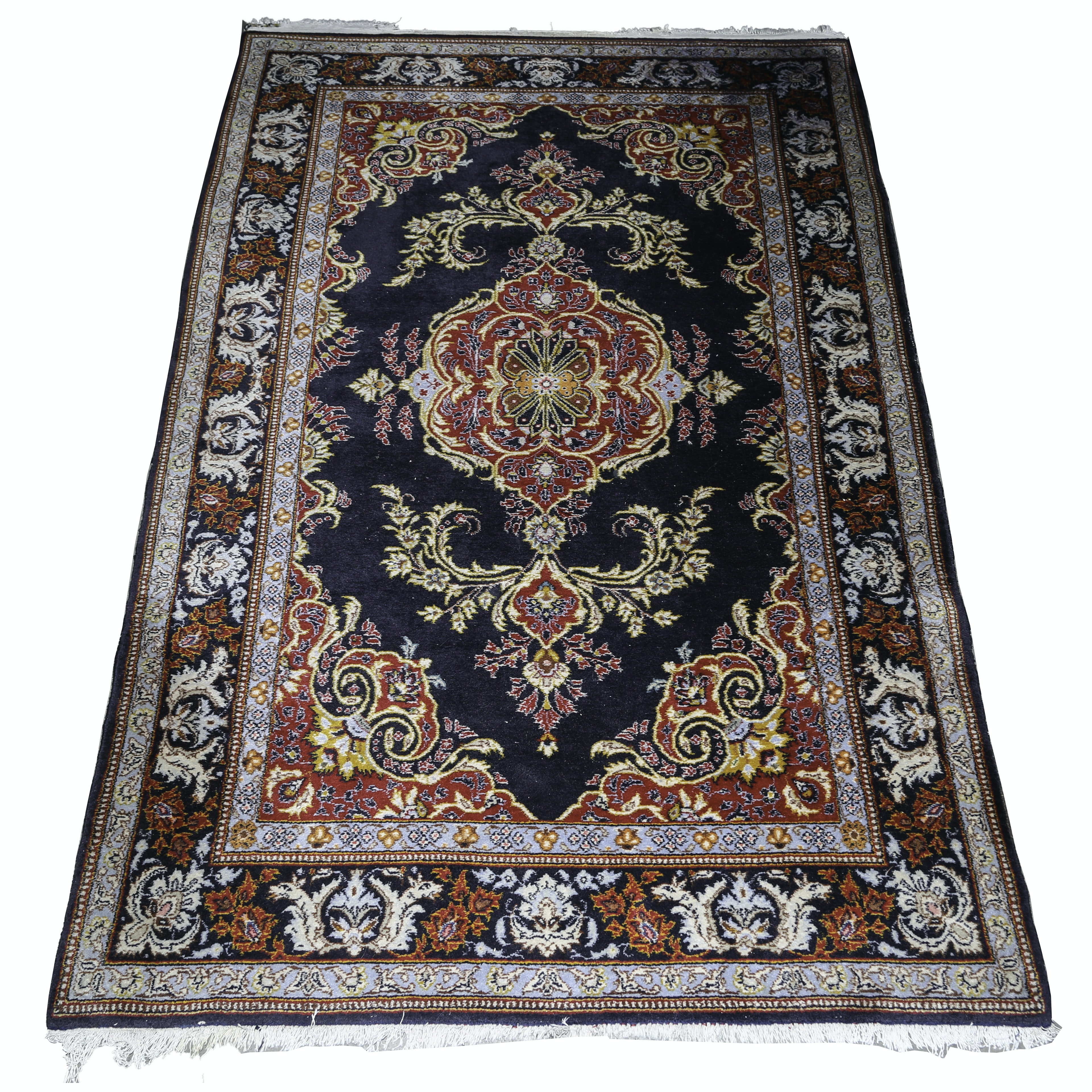 Vintage Hand-Knotted Indo-Persian Wool Area Rug