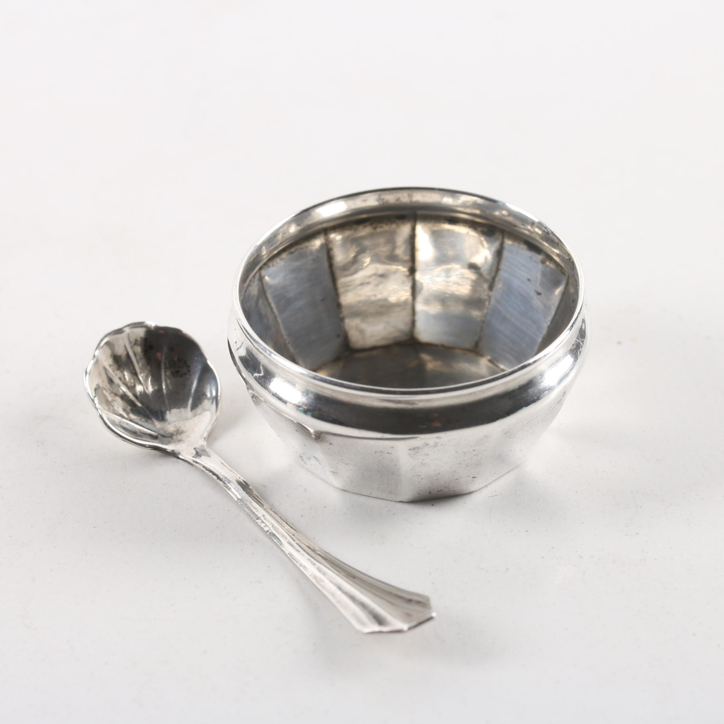 Webster Co. Sterling Silver Salt Cellar and Shell Style Salt Spoon