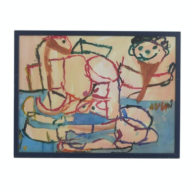"""Annie Titchener 2008 Acrylic Painting on Paper """"Untitled"""""""
