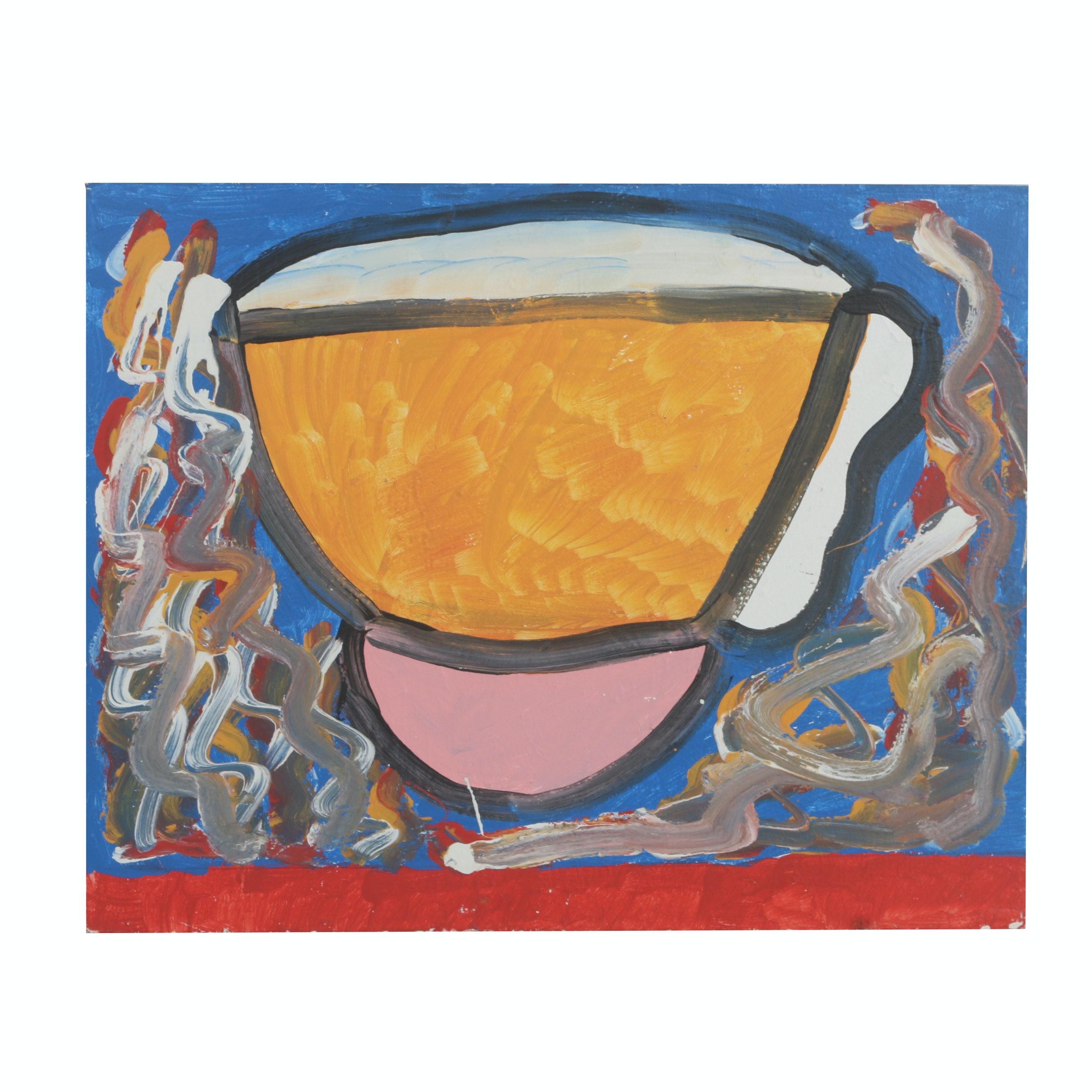 "Curtis Davis 2018 Acrylic Painting on Wood ""Bowl"""