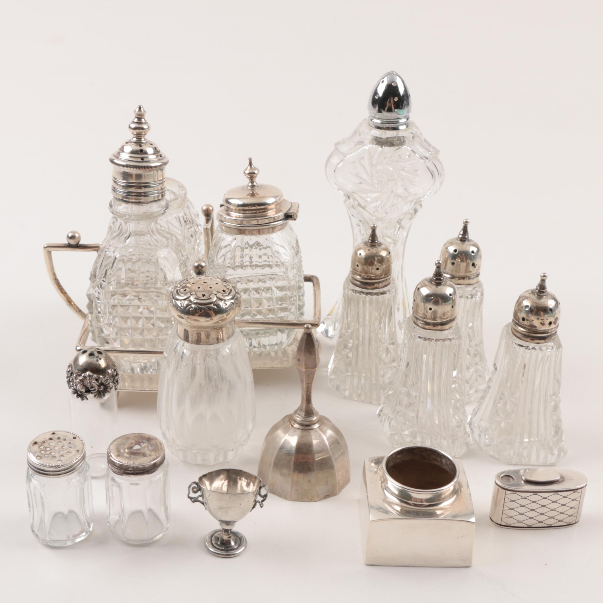 Collection of Sterling Silver and Glass Castors and Table Accessories