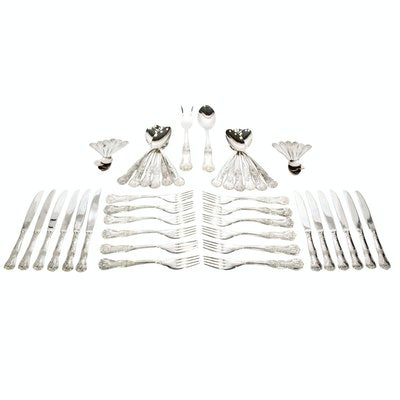 Italian Silver Plate Queen's Pattern Flatware, 20th Century