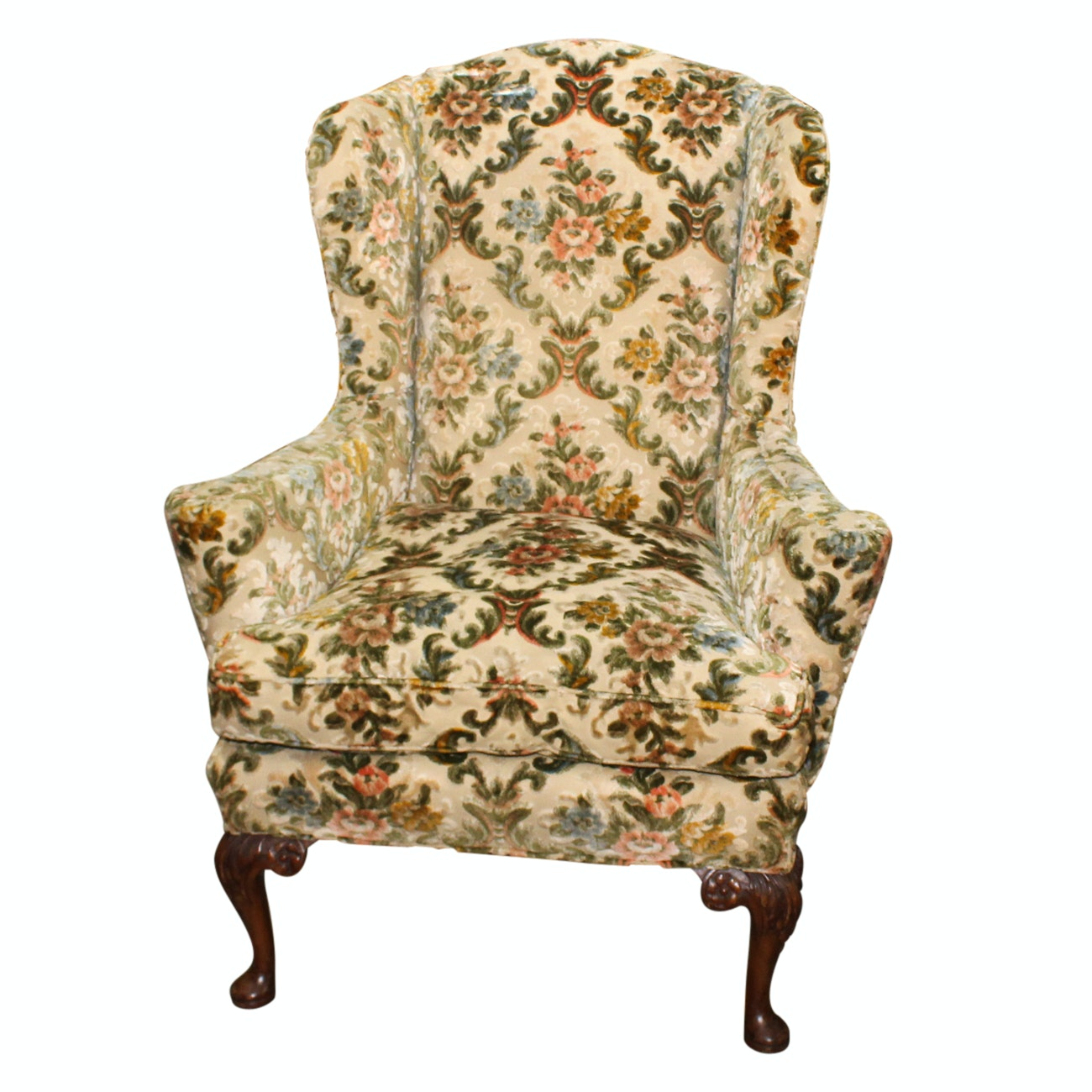 George III Style Carved Mahogany Wing Chair, 20th Century