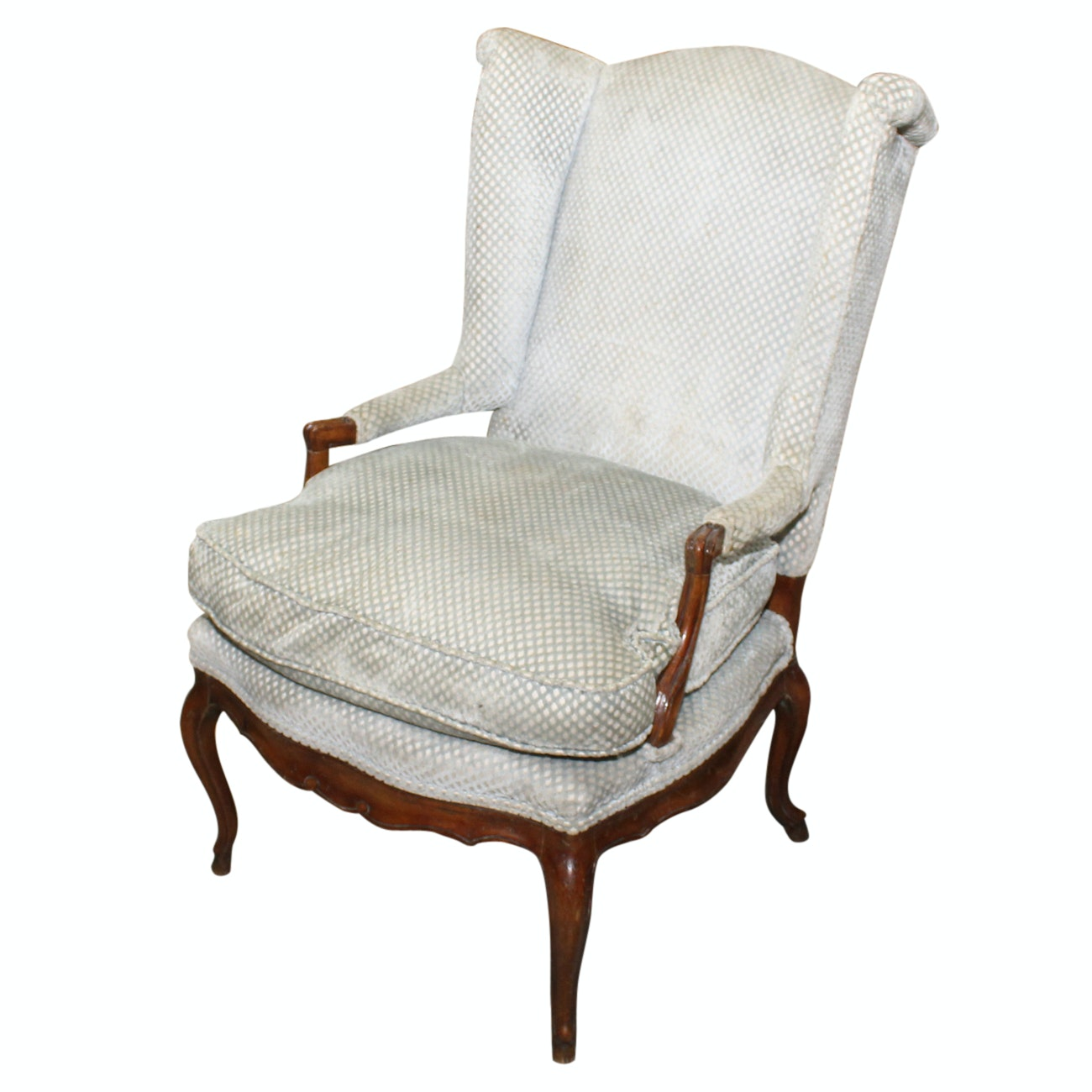 French Provincial Style Carved Fruitwood Wing Chair, 20th Century