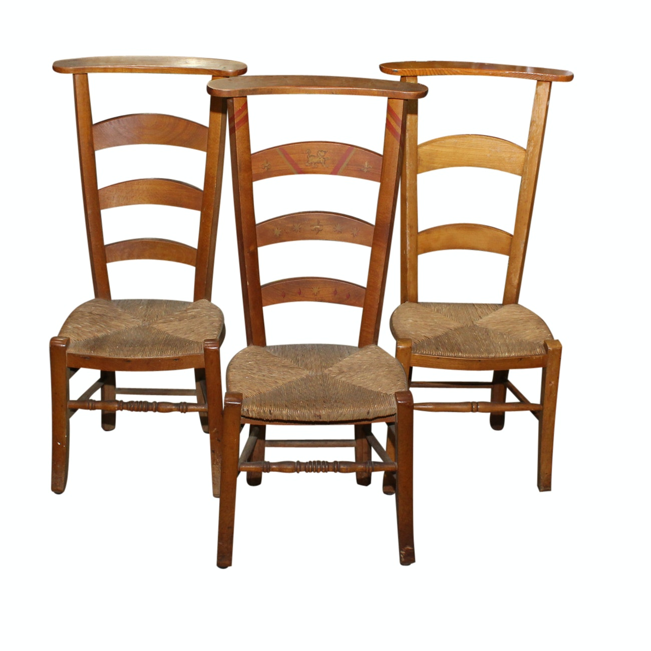 Three French Provincial Beech Prayer Chairs, One Paint-Decorated, 20th Century