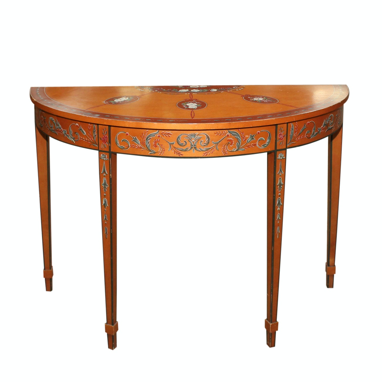 George III Style Paint-Decorated Demilune Console Table by Chelsea House