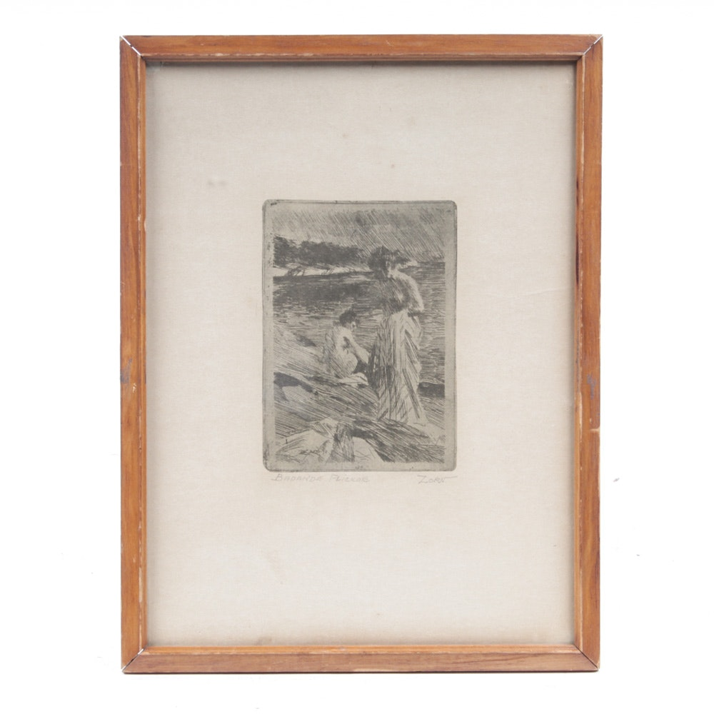 "Offset Lithograph ""Badande Flickor"" After Anders Zorn"