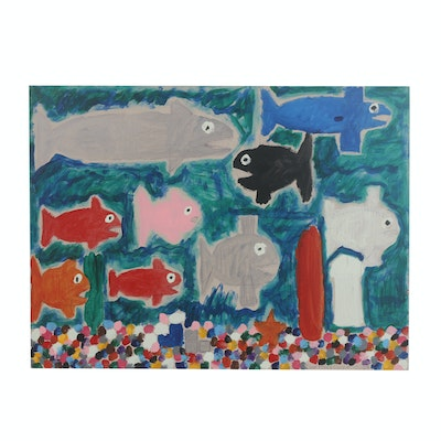 """Courttney Cooper 2009 Acrylic Painting on Wood """"Fish"""""""