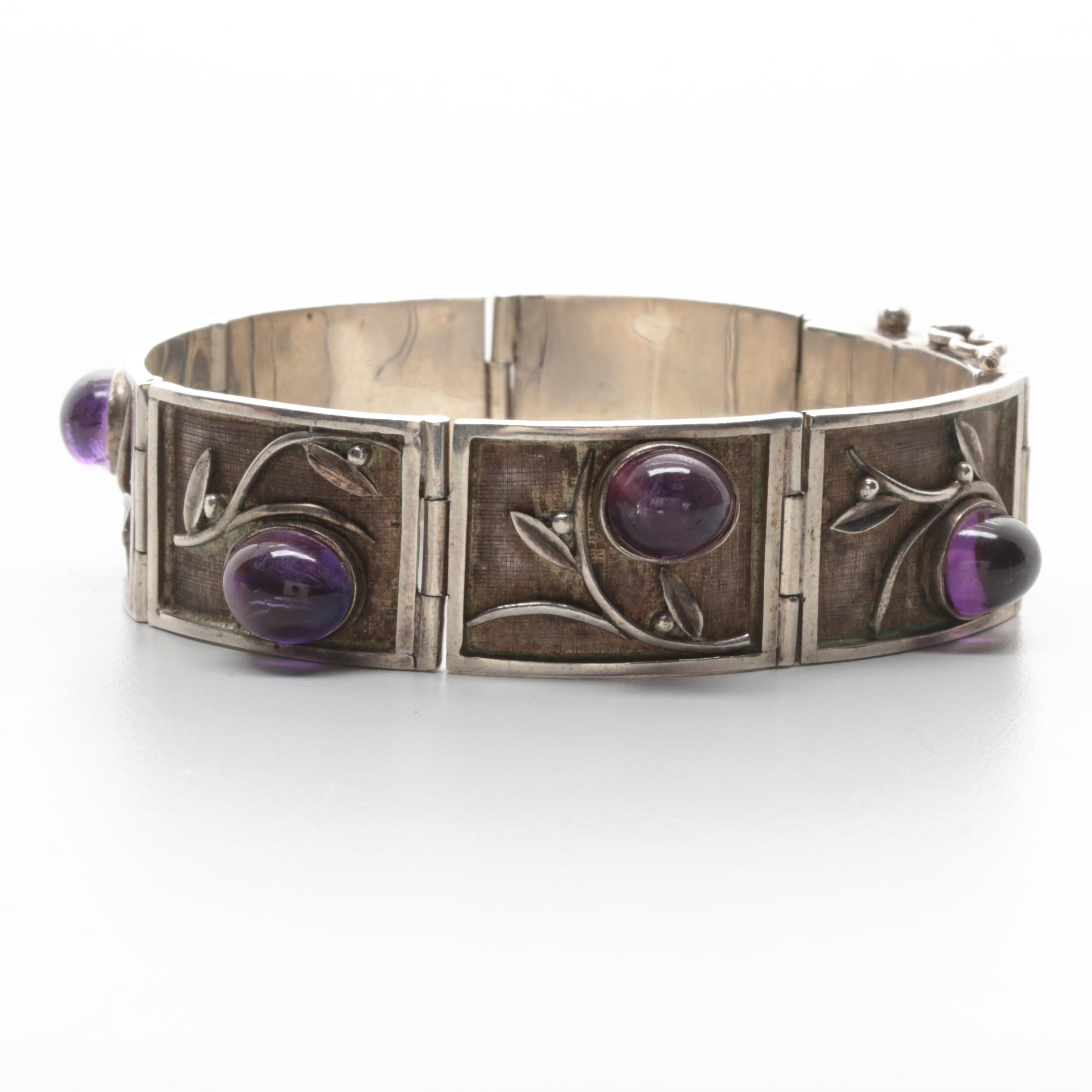 Mexican Sterling Silver Amethyst Fancy Link Bracelet with Foliage Motifs