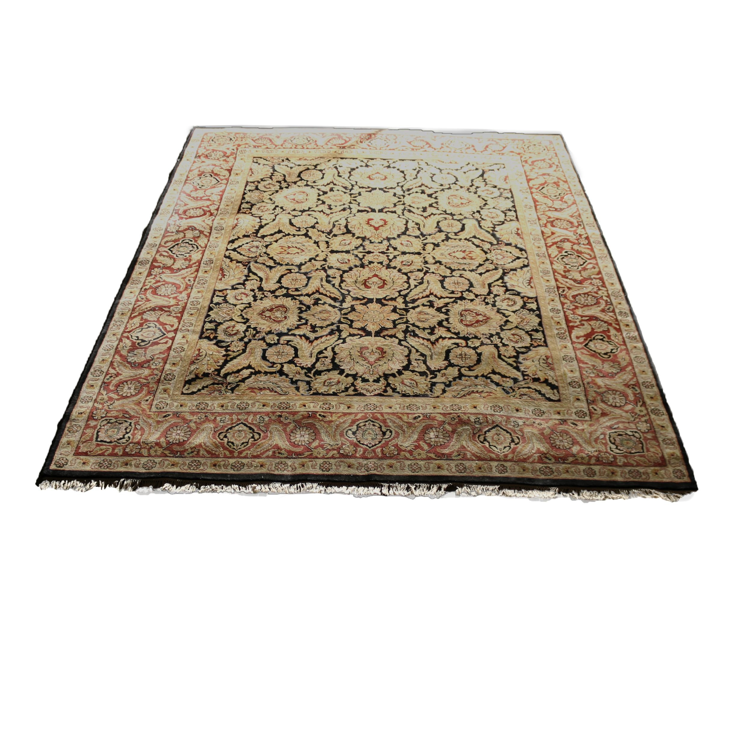 Hand-Knotted Indo-Persian Isfahan Wool Area Rug