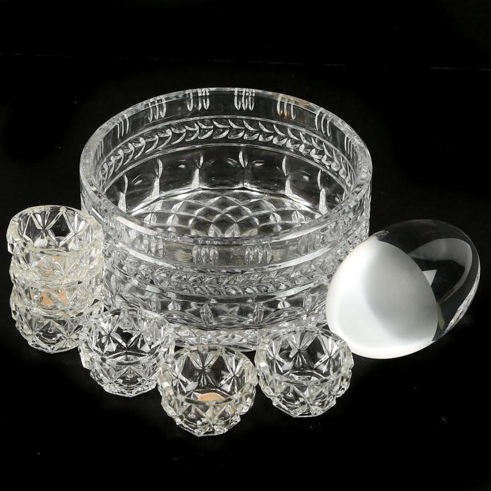 Vintage Bohemia Glass Salt Cellars and Decor Elements