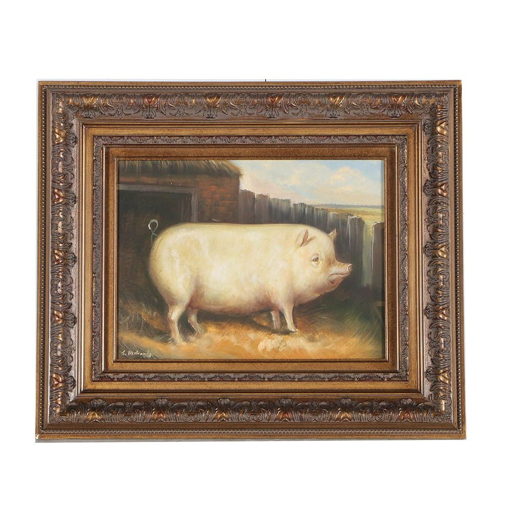 S. Richards Barnyard Pig Oil Painting