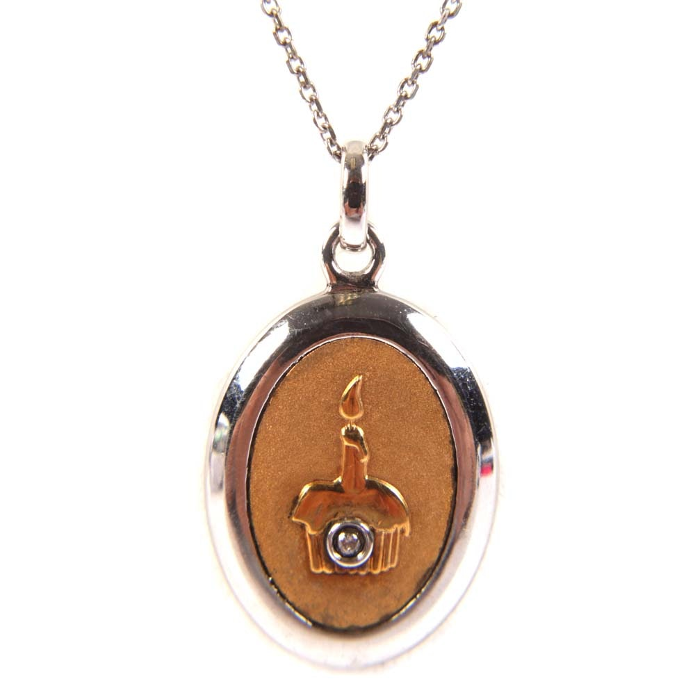 Sterling and 18K Yellow Gold Birthday Pendant Necklace