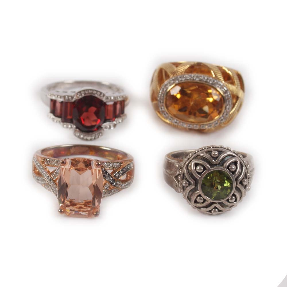 Sterling Rings Featuring 1.50 CT Peridot, 5.00 CTW Garnet, 5.25 CT Citrine