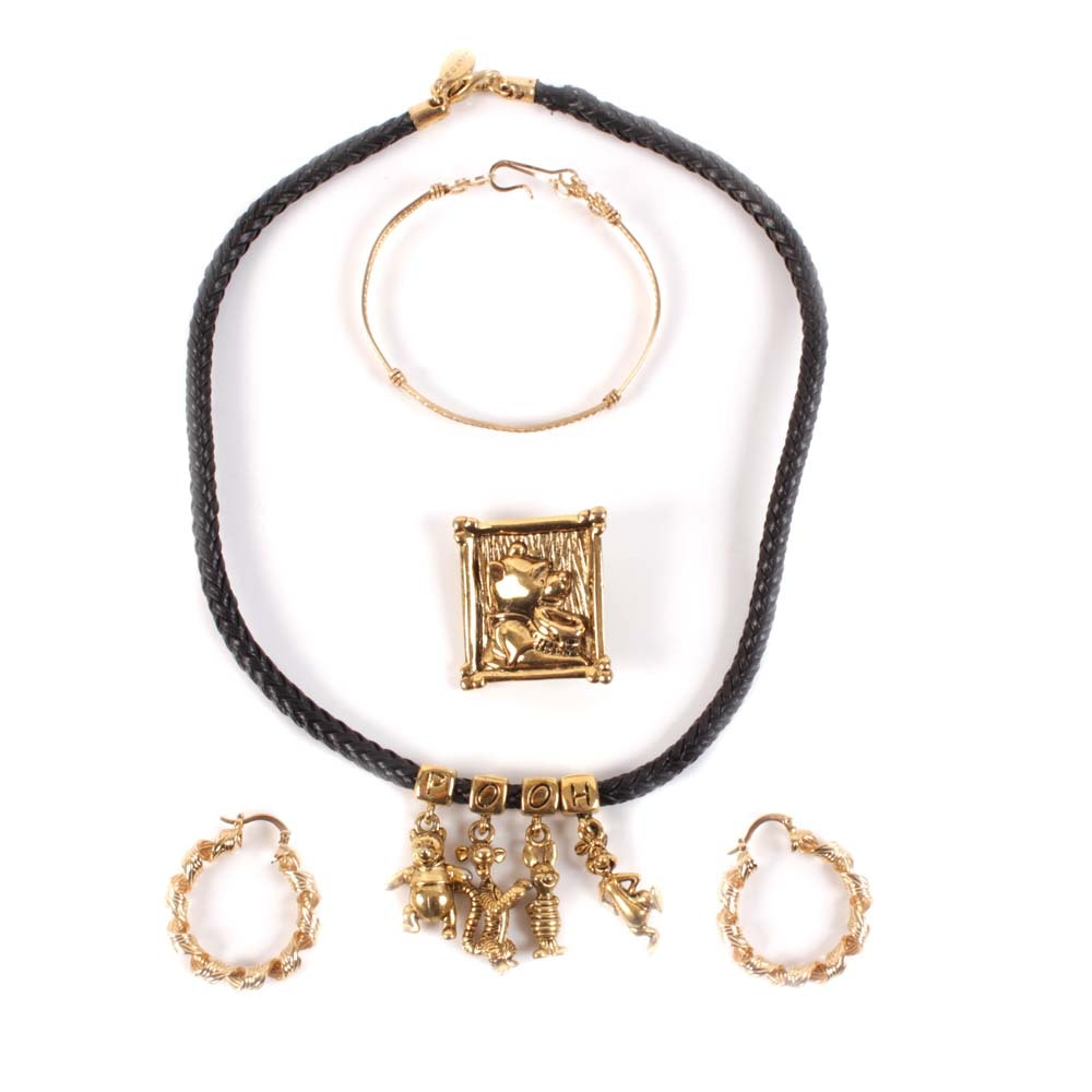 "Gold Tone Costume Jewelry Featuring ""Winnie the Pooh"""