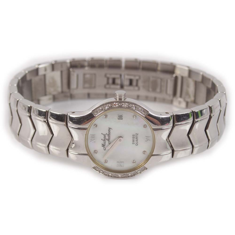 Michael Anthony Stainless Steel, Diamond and Mother of Pearl Dial Wristwatch