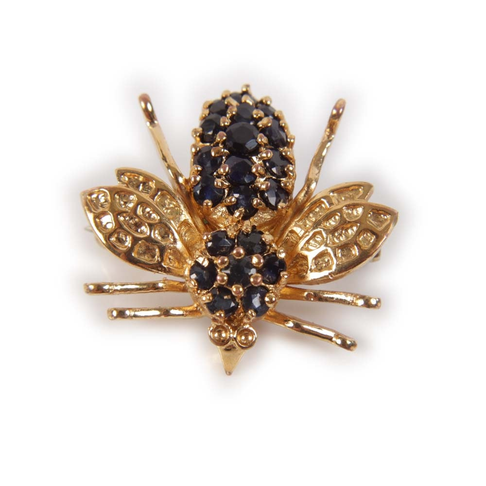 Gold Tone 1.00 CTW Sapphire Bee Brooch