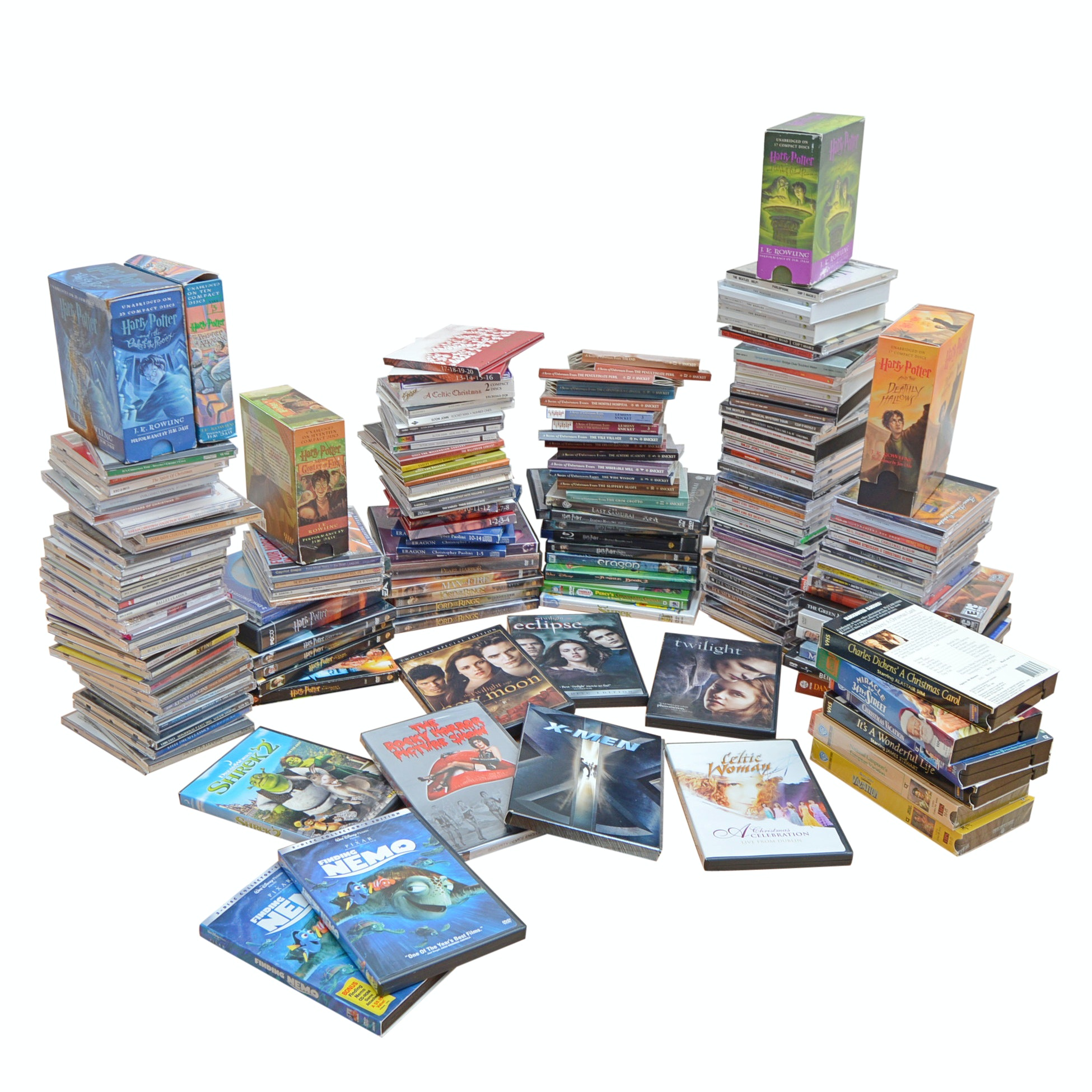 Large Collection of DVDs, CDs and VHS Films
