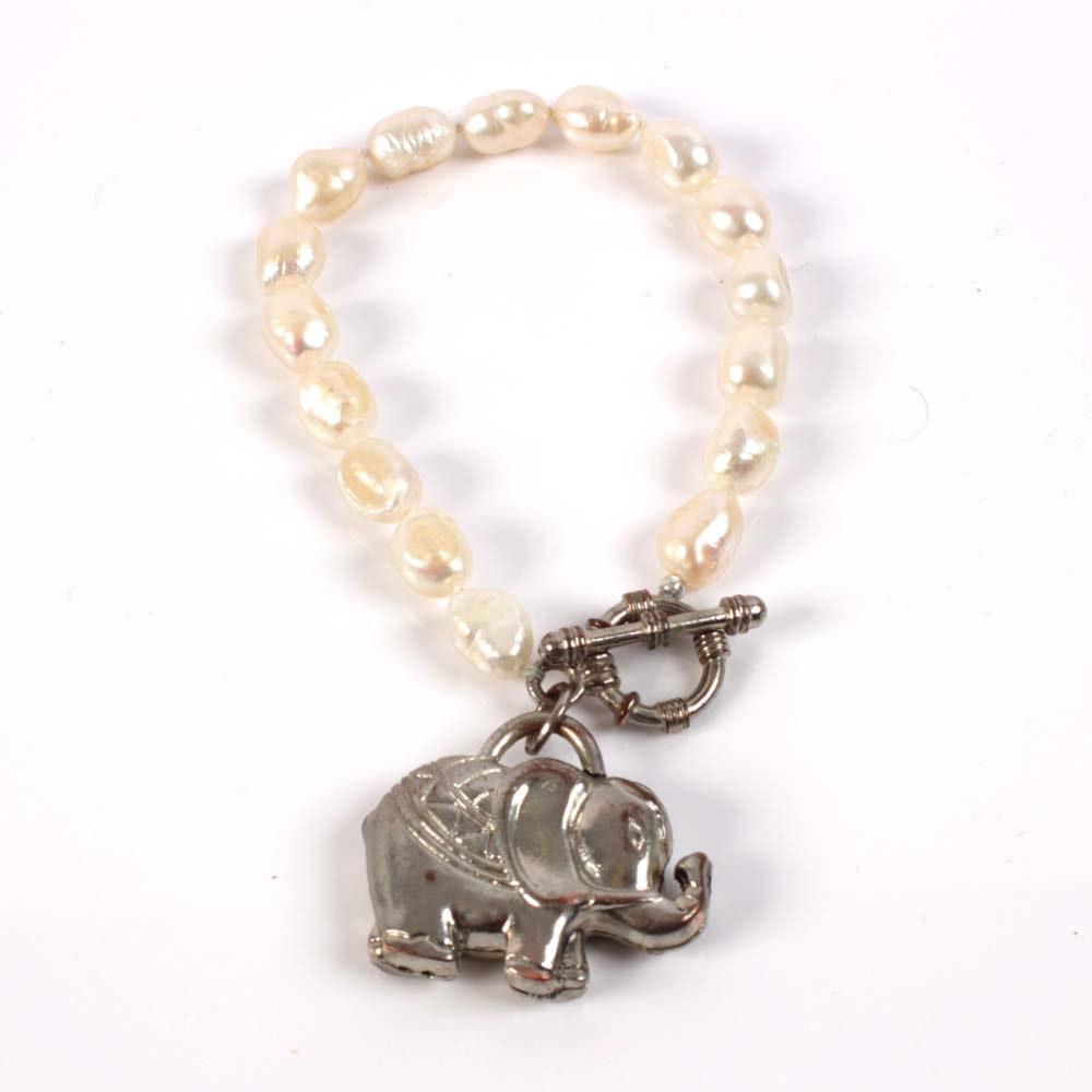 Silver Plated Freshwater Pearl Elephant Bracelet