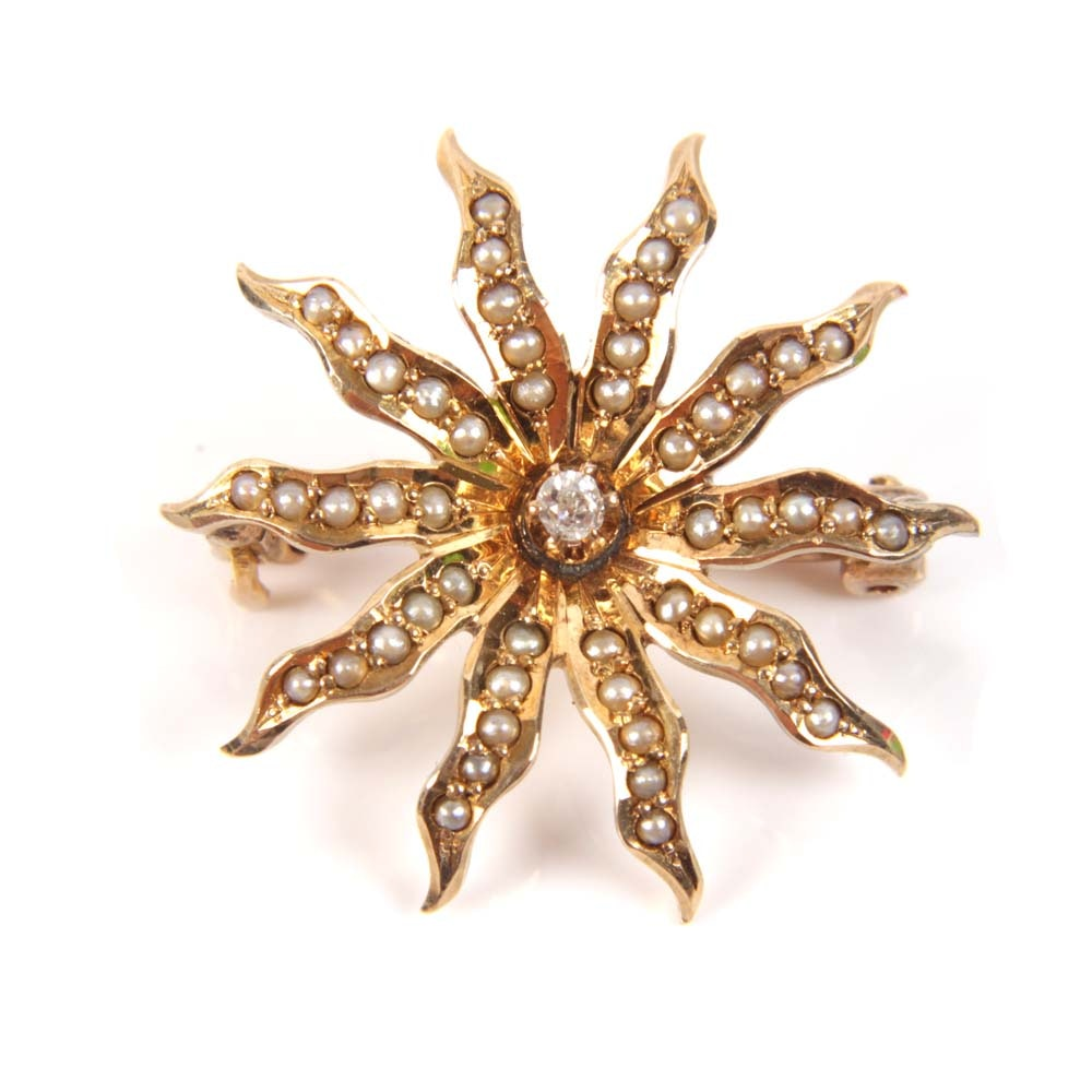 Vintage 10K Yellow Gold Old Mine Cut Diamond and Seed Pearl Starburst Brooch