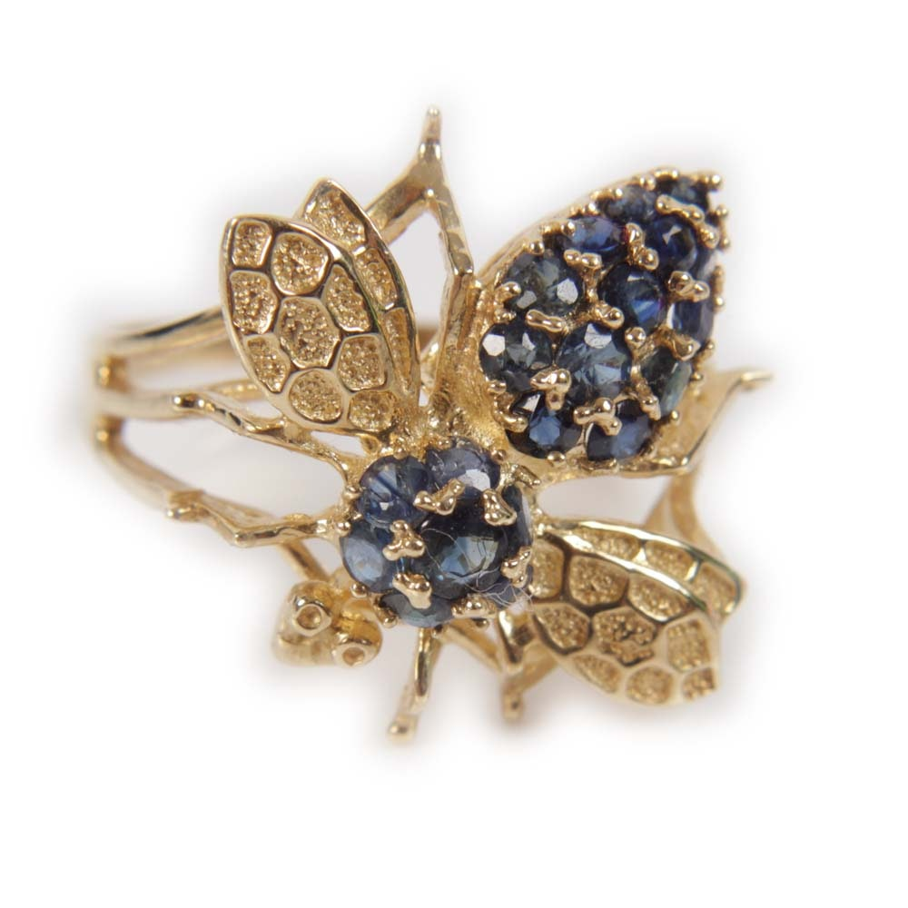 14K Yellow Gold and 1.06 CTW Sapphire Bee Ring