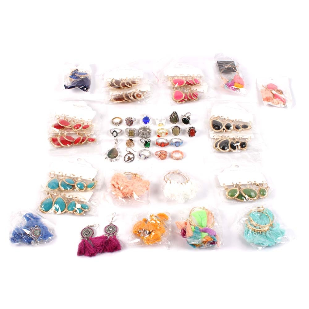 Costume Jewelry Earrings and Rings