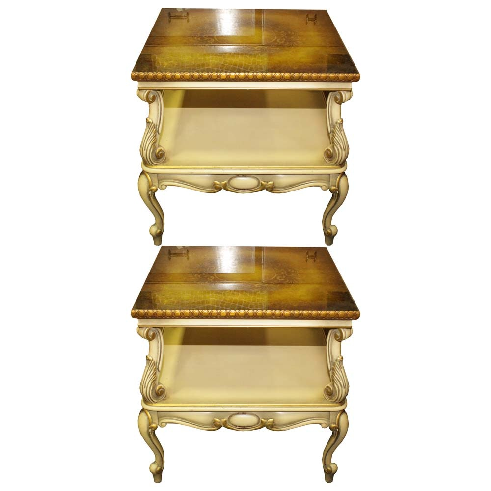 Neoclassical Style Tiered Side Tables