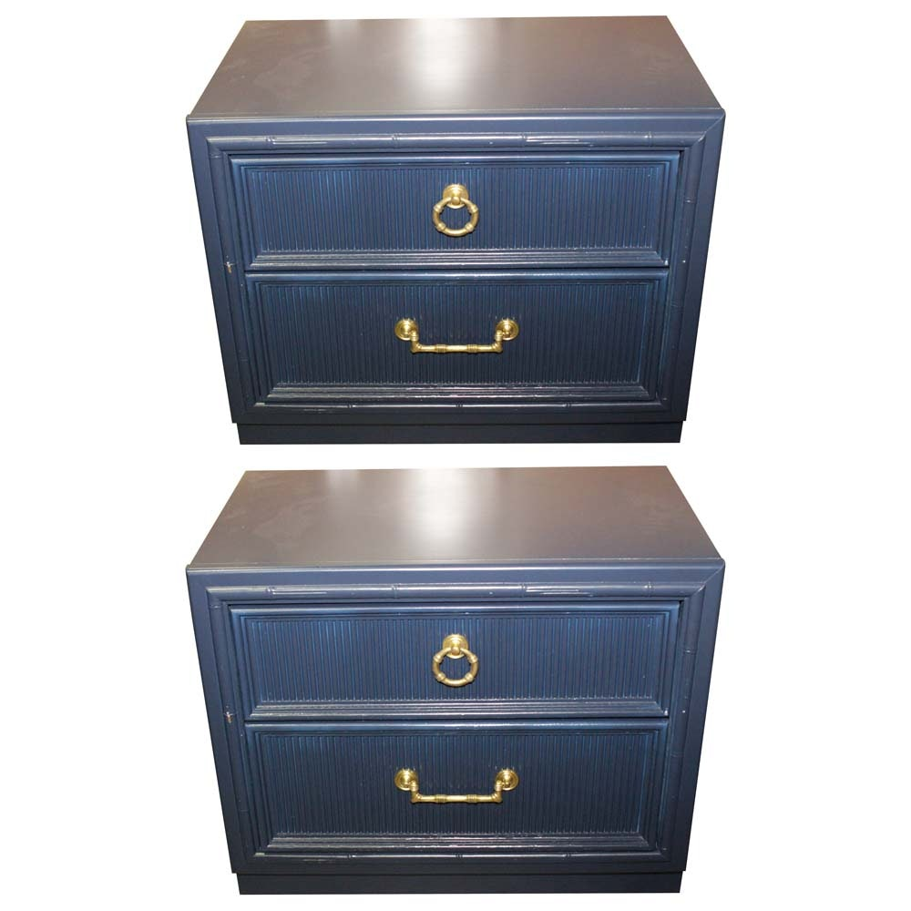 Faux Bamboo Navy Blue Nightstands