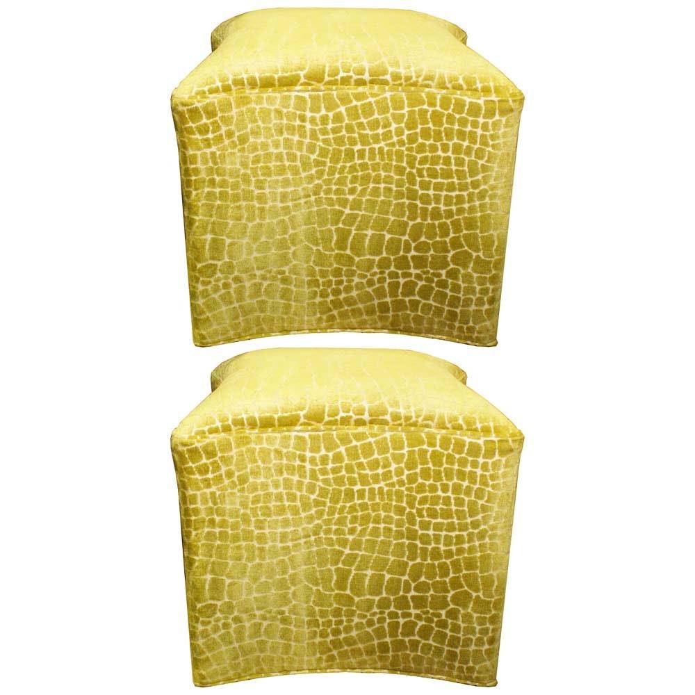 Upholstered Giraffe Print Foot Stools