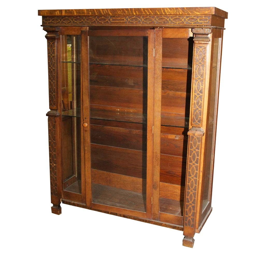 Vintage Golden Oak Display Cabinet