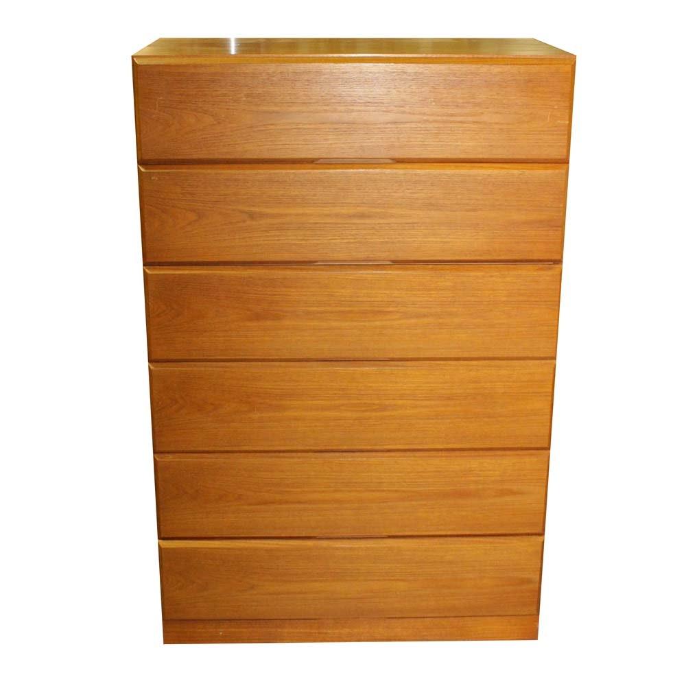 "Dixie Furniture Mid-Century Modern ""Scova"" Oak Chest of Drawers"