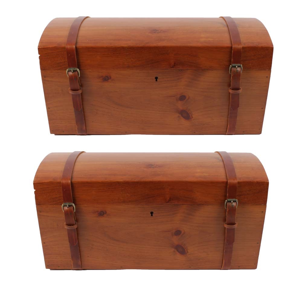 Vintage Hand Crafted Petite Cedar Finish Dome Top Trunks